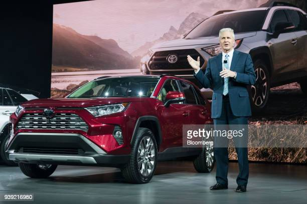 Jack Hollis group vice president and general manager of Toyota Motor Sales USA Inc speaks while standing next to the Toyota Motor Corp RAV4 Limited...