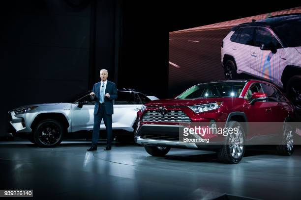 Jack Hollis group vice president and general manager of Toyota Motor Sales USA Inc speaks while standing next to the Toyota Motor Corp RAV4 XSE...