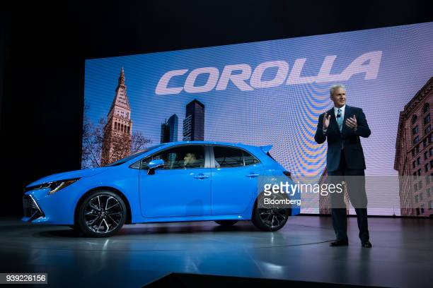Jack Hollis group vice president and general manager of Toyota Motor Sales USA Inc speaks while standing next to the 2019 Toyota Motor Corp Corolla...