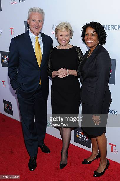 Jack Hollis Tina Brown and Sandra Phillips attend the Women In World Summit at the David H Koch Theater at Lincoln Center on April 22 2015 in New...