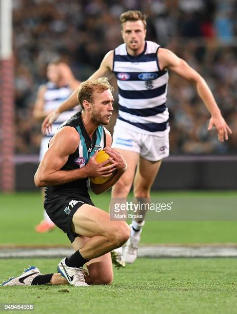 Jack Hombsch of Port Adelaide marks during the round five AFL match between the Port Adelaide Power and the Geelong Cats at Adelaide Oval on April 21...