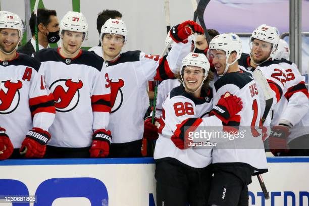 Jack Hughes of the New Jersey Devils celebrates after scoring a goal in the second period against the New York Rangers at Madison Square Garden on...