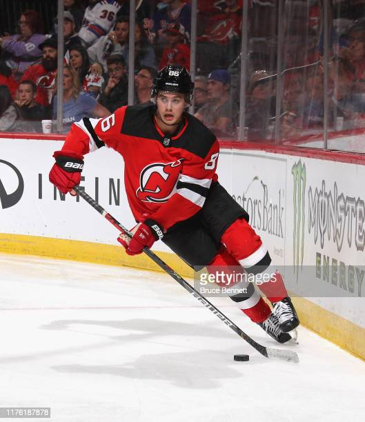 Jack Hughes of the New Jersey Devils skates against the New York Rangers at the Prudential Center on September 20 2019 in Newark New Jersey The...