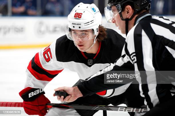 Jack Hughes of the New Jersey Devils skates against the New York Rangers at Madison Square Garden on January 19, 2021 in New York City.