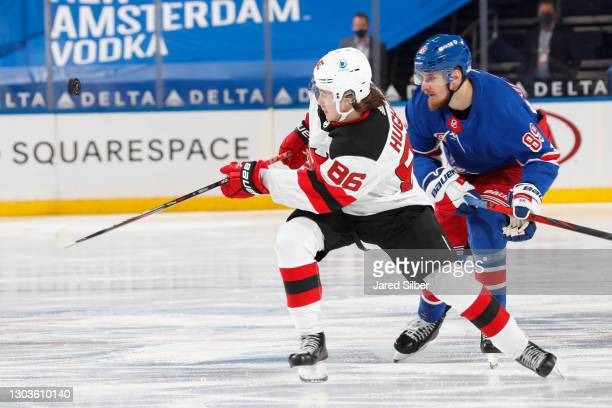 Jack Hughes of the New Jersey Devils skates against the New York Rangers at Madison Square Garden on February 16, 2021 in New York City.