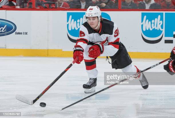 Jack Hughes of the New Jersey Devils skates against the Ottawa Senators at Canadian Tire Centre on January 27, 2020 in Ottawa, Ontario, Canada.