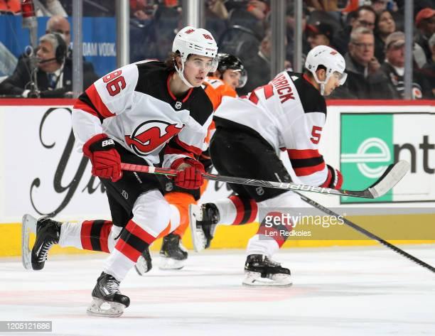 Jack Hughes of the New Jersey Devils skates against the Philadelphia Flyers on February 6, 2020 at the Wells Fargo Center in Philadelphia,...