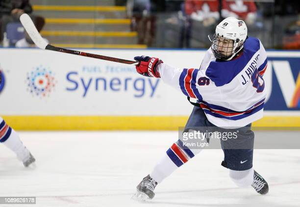 Jack Hughes of the United States shoots the puck during a quarterfinal game versus the Czech Republic at the IIHF World Junior Championships at the...