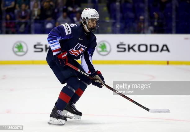 Jack Hughes of the United States skates against France during the 2019 IIHF Ice Hockey World Championship Slovakia group A game between United States...