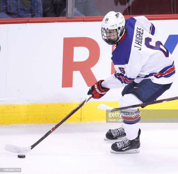 Jack Hughes of the United States skates against Russia during a semi-final game at the IIHF World Junior Championships at Rogers Arena on January 4,...