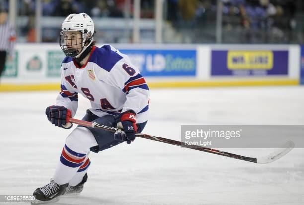 Jack Hughes of the United States skates during a quarterfinal game versus the Czech Republic at the IIHF World Junior Championships at the...