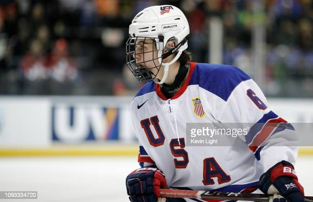 Jack Hughes of the United States skates during a quarterfinal game against the Czech Republic at the IIHF World Junior Championships at the...