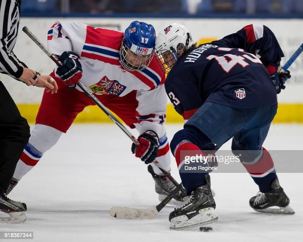 Jack Hughes of the USA Hockey Nationals faces off against Dominik Sklenar of the Czech Republic Nationals during the 2018 Under18 Five Nations...