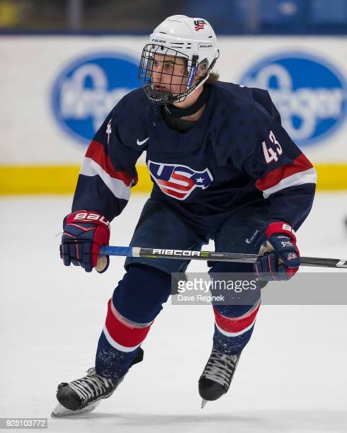 Jack Hughes of the USA Nationals follows the play against the Czech Nationals during the 2018 Under18 Five Nations Tournament game at USA Hockey...