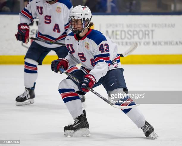 Jack Hughes of the USA Nationals follows the play against the Russian Nationals during the 2018 Under18 Five Nations Tournament game at USA Hockey...