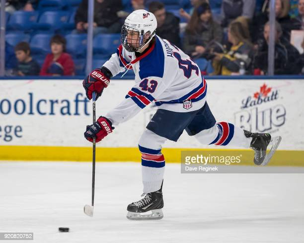 Jack Hughes of the USA Nationals passes the puck against the Russian Nationals during the 2018 Under18 Five Nations Tournament game at USA Hockey...