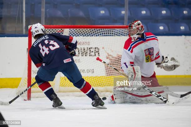 Jack Hughes of the USA Nationals scores a goal on Daniel Dvorak of the Czech Nationals during the 2018 Under18 Five Nations Tournament game at USA...