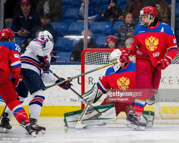 Jack Hughes of the USA Nationals scores a second period goal on Amir Miftakhof of the Russian Nationals during the 2018 Under18 Five Nations...
