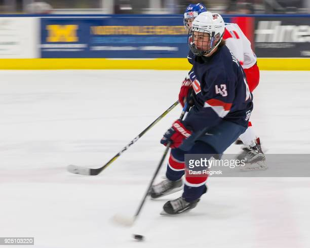 Jack Hughes of the USA Nationals skates up ice with the puck against the Czech Nationals during the 2018 Under18 Five Nations Tournament game at USA...