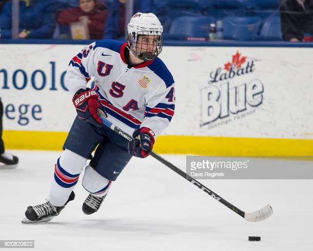 Jack Hughes of the USA Nationals turns up ice with the puck against the Russian Nationals during the 2018 Under18 Five Nations Tournament game at USA...