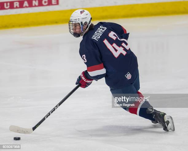 Jack Hughes of the USA Nationals turns up ice with the puck against the Czech Nationals during the 2018 Under18 Five Nations Tournament game at USA...