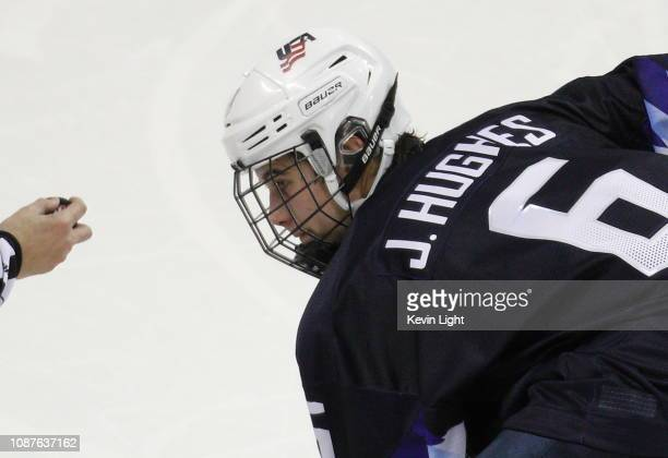 Jack Hughes of United States against Slovakia during the IIHF World Junior Championships at the SaveonFoods Memorial Centre on December 26 2018 in...