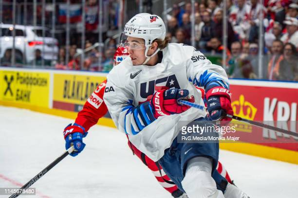 Jack Hughes of United States in action during the 2019 IIHF Ice Hockey World Championship Slovakia quarter final game between Russia and United...