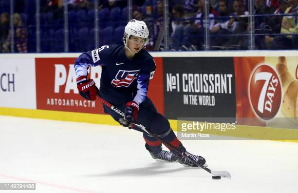 Jack Hughes of United States skates against Great Britain during the 2019 IIHF Ice Hockey World Championship Slovakia group A game between United...