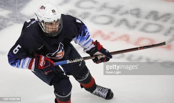 Jack Hughes of United States skates against Slovakia during the IIHF World Junior Championships at the SaveonFoods Memorial Centre on December 26...