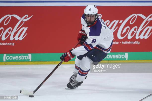 Jack Hughes of USA during the international friendly game between Germany and USA ahead of the 2019 IIHF Ice Hockey World Championship at SAP Arena...