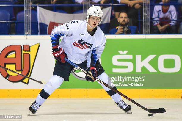 Jack Hughes of USA in action during the 2019 IIHF Ice Hockey World Championship Slovakia group A game between Denmark and United States at Steel...