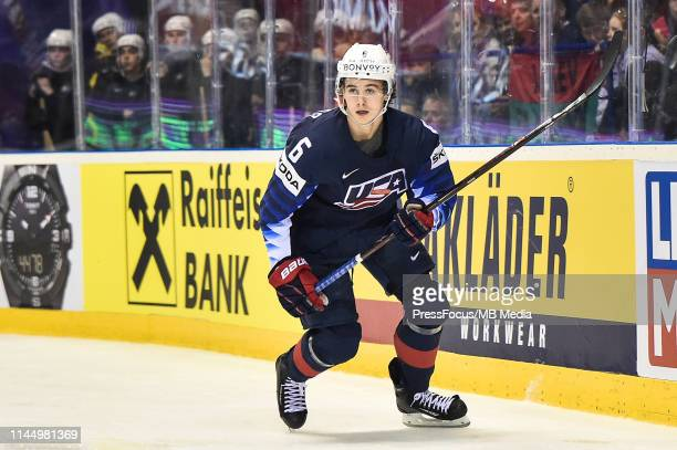 Jack Hughes of USA in action during the 2019 IIHF Ice Hockey World Championship Slovakia group A game between Germany and United States at Steel...