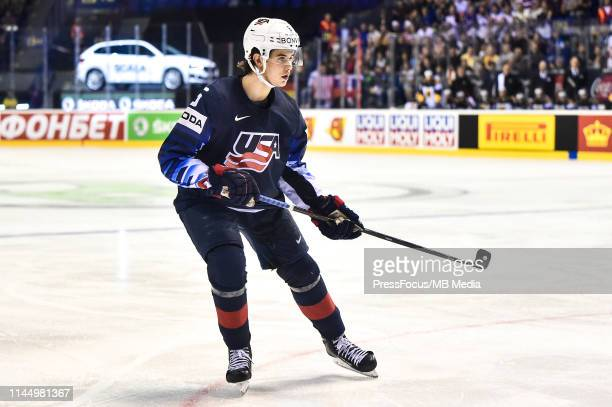 Jack Hughes of USA looks on during the 2019 IIHF Ice Hockey World Championship Slovakia group A game between Germany and United States at Steel Arena...