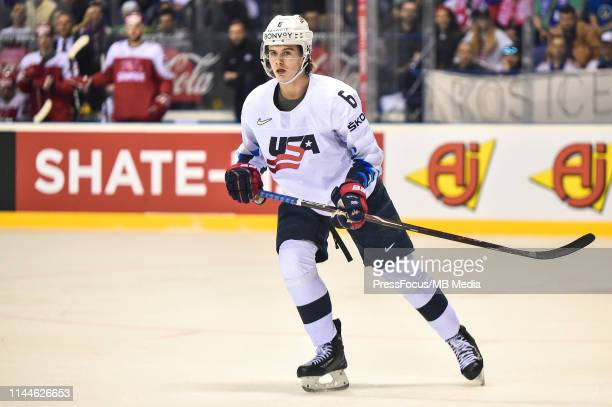 Jack Hughes of USA skates during the 2019 IIHF Ice Hockey World Championship Slovakia group A game between Denmark and United States at Steel Arena...