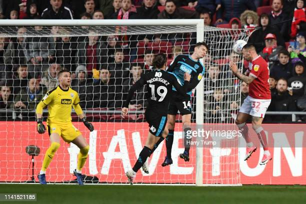 Jack Hunt of Bristol City scores his team's third goal during the Sky Bet Championship match between Bristol City and West Bromwich Albion at Ashton...