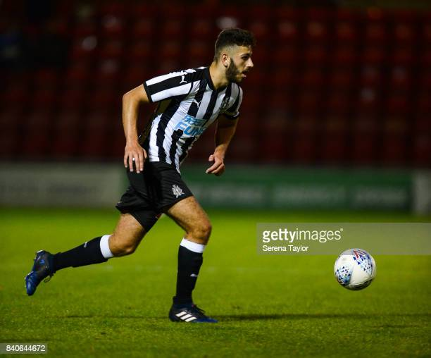 Jack Hunter of Newcastle United runs with the ball during the Checkatrade Trophy Match between Crewe Alexandra and Newcastle United at Gresty Road on...