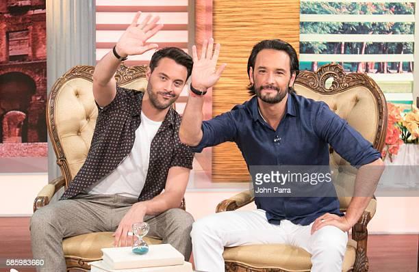 Jack Huston and Rodrigo Santoro attend Telemundo's 'Un Nuevo Dia' to promote the film 'BenHur' on August 4 2016 in Miami Florida