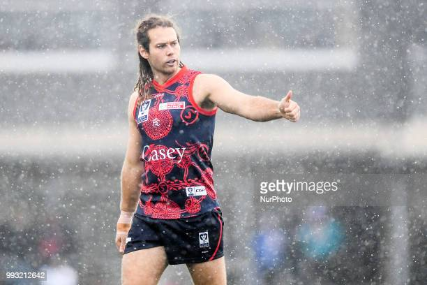 Jack Hutchins of the Casey Demons gives a thumbs up during the VFL round 14 game between the Casey Demons and North Melbourne at Casey Fields in...