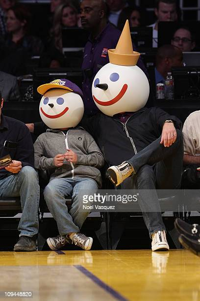 Jack In The Box characters attend a game between the Los Angeles Clippers and the Los Angeles Lakers at Staples Center on February 25 2011 in Los...