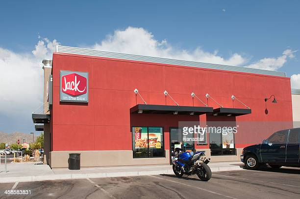 jack in the box fast food restaurant - jack in the box stock photos and pictures