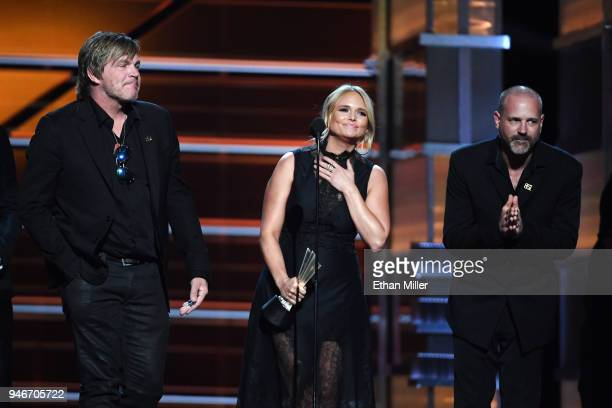 Jack Ingram Miranda Lambert and Jon Randall accept the Song of the Year award for 'Tin Man' onstage during the 53rd Academy of Country Music Awards...