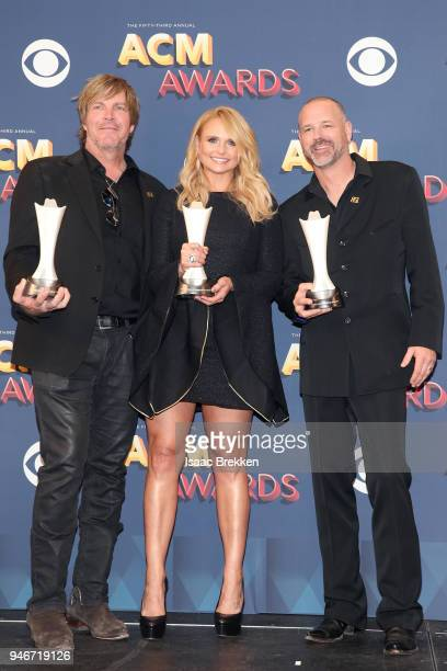 Jack Ingram Miranda Lambert and Jon Randall winners of Song of the Year for 'Tin Man' pose in the press room during the 53rd Academy of Country Music...