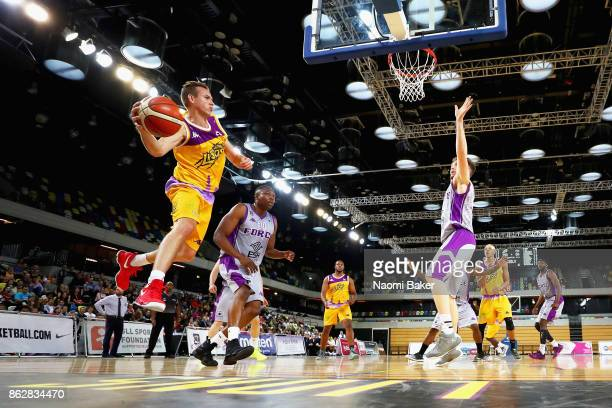 Jack Isenbarger of the London Lions makes a pass during a British Basketball League match between London Lions and Leeds Force at the Copper Box...