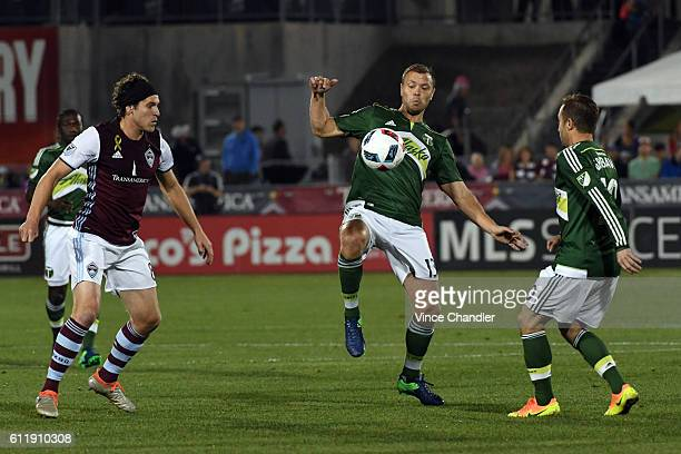Jack Jewsbury of Portland Timbers controls the ball in the first half of the match The Colorado Rapids hosted the Portland Timbers in a Major League...