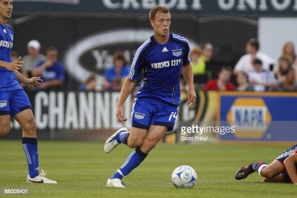 Jack Jewsbury of the Kansas City Wizards dribbles the ball against Chivas USA during the game at Community America Ballpark on May 23 2009 in Kansas...