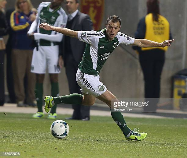 Jack Jewsbury of the Portland Timbers tracks the ball down during the second half of the Western Conference Championship Leg 1 against Real Salt Lake...