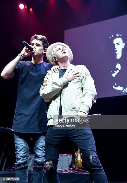 Jack Johnson and Jack Gilinsky and of the band Jack Jack perform on stage during Z100 CocaCola All Access Lounge at Z100's Jingle Ball 2016 Presented...