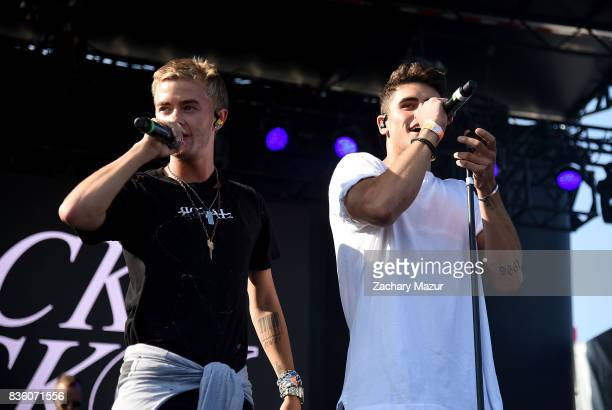 Jack Johnson and Jack Gilinsky of Jack and Jack performs at 2017 Billboard HOT 100 Music Festival at Northwell Health at Jones Beach Theater on...