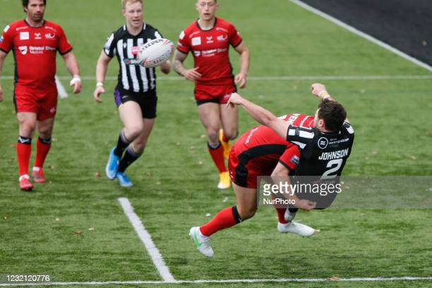 Jack Johnson of Newcastle Thunder offloads in the tackle during the BETFRED Championship match between Newcastle Thunder and Widnes Vikings at...