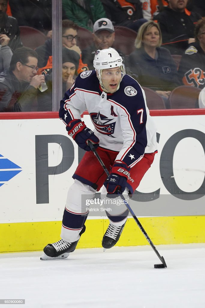 Jack Johnson #7 of the Columbus Blue Jackets against the Philadelphia Flyers during the second period at Wells Fargo Center on March 15, 2018 in Philadelphia, Pennsylvania.
